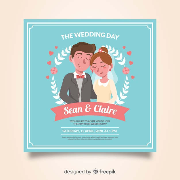 Hand drawn wedding invitation template Free Vector