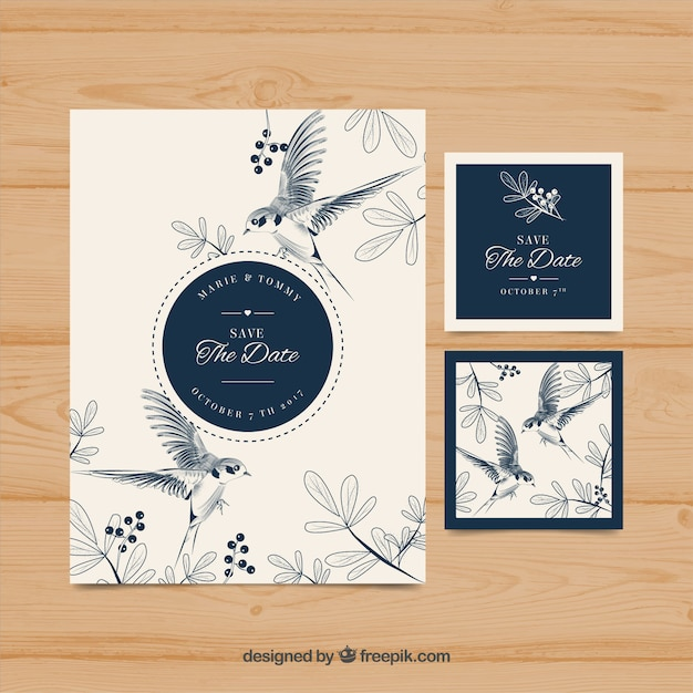 Hand drawn wedding invitation with birds and flowers Vector | Free ...