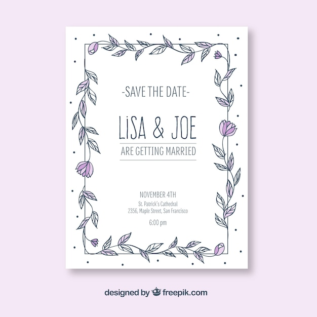 Hand drawn wedding invitation with floral frame Free Vector