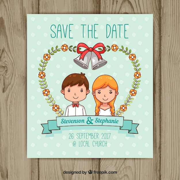 Hand drawn wedding invitation with happy couple Vector | Free Download