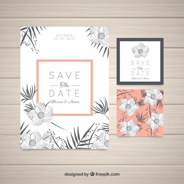 Hand drawn wedding invitation with modern flowers vector free download hand drawn wedding invitation with modern flowers free vector stopboris Images