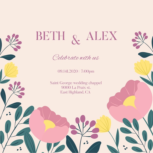 Hand drawn wedding invitation with pastel pink flowers Free Vector