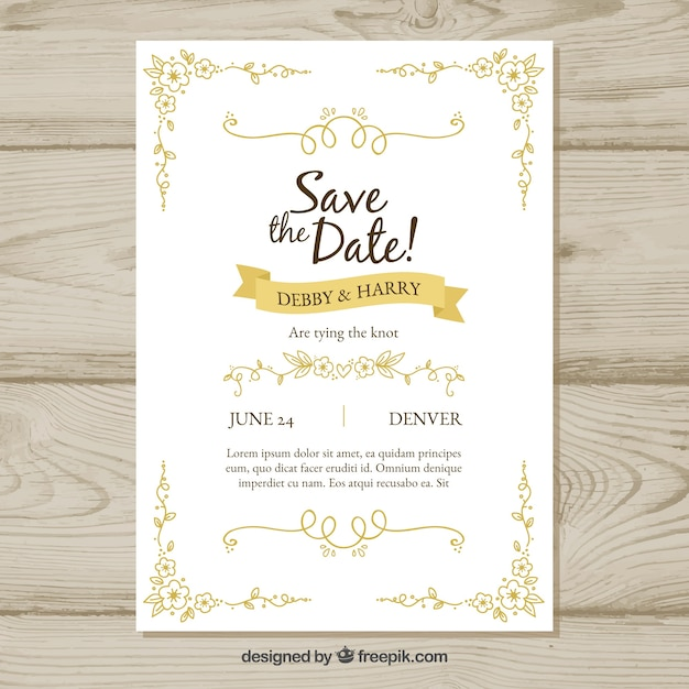 Hand drawn wedding invitation with retro style Vector | Free Download
