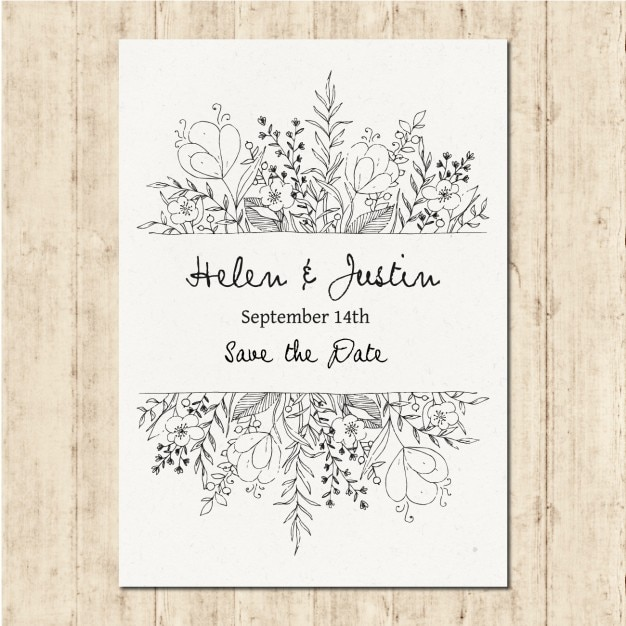 Hand drawn wedding invitation Free Vector