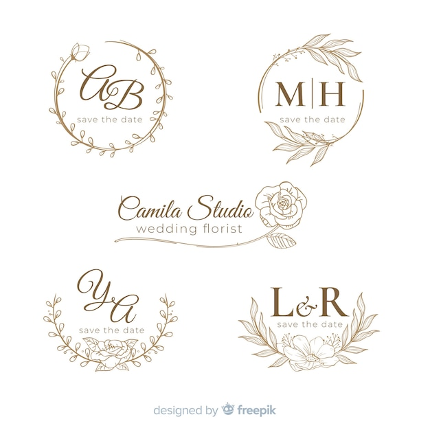 Hand drawn wedding logo collectio Free Vector
