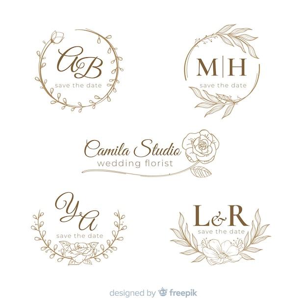 Ручной обращается свадебный логотип collectio Premium векторы