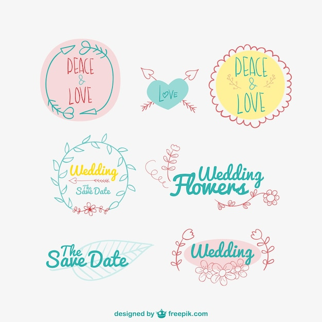 Hand drawn wedding and love badges Free Vector