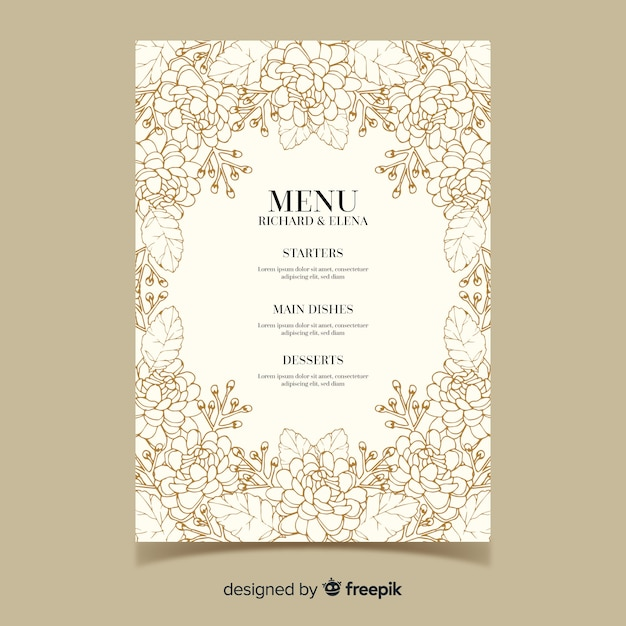 Hand drawn wedding menu template Free Vector