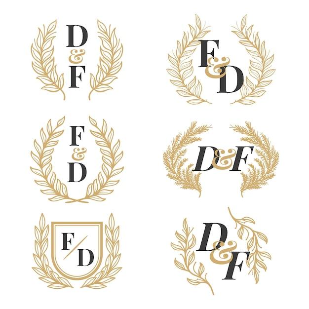 Коллекция рисованной свадебной монограммы Бесплатные векторы