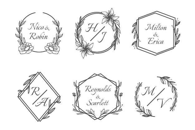 手描きの結婚式のモノグラムロゴパック 無料ベクター