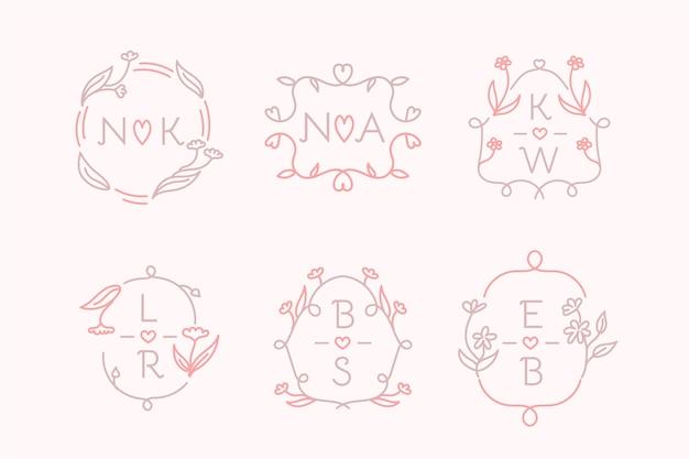 손으로 그린 웨딩 모노그램 로고 팩 무료 벡터