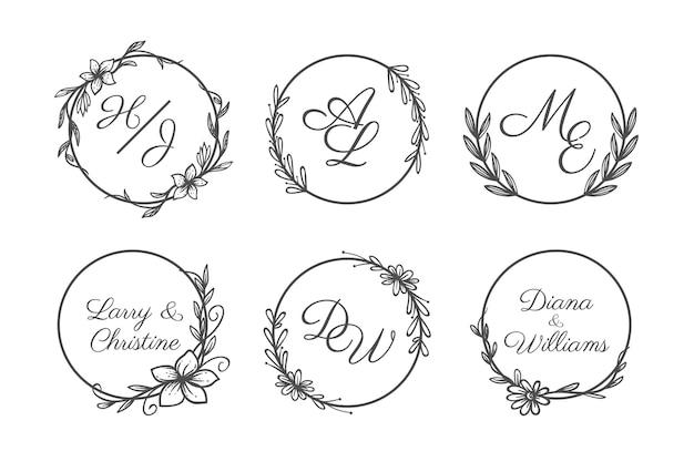 Набор рисованной свадебной монограммы с логотипом Бесплатные векторы