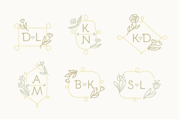 Insieme di logo monogramma matrimonio disegnato a mano Vettore gratuito