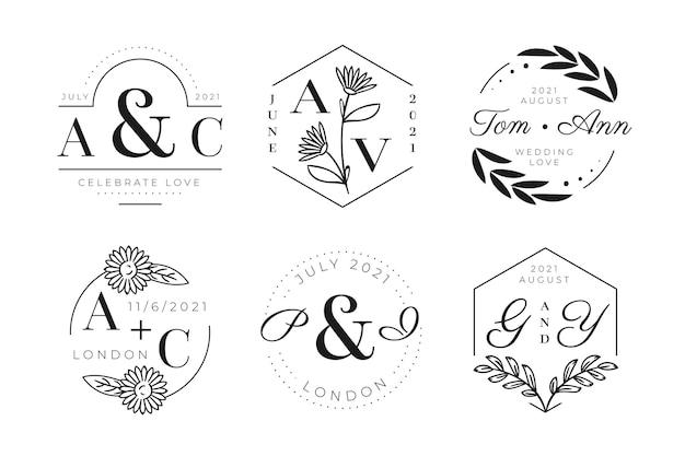 Ручной обращается свадебные логотипы с монограммой Premium векторы
