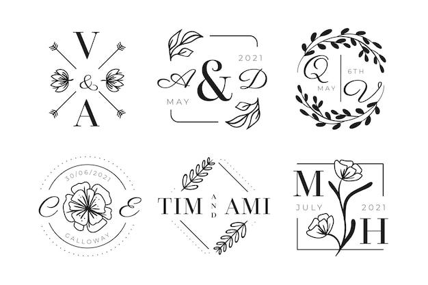 Ручной обращается свадебные логотипы с монограммой Бесплатные векторы