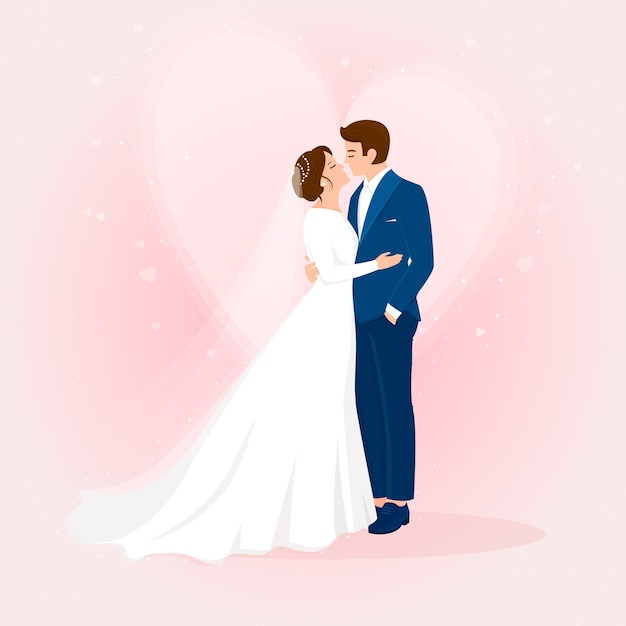 Hand drawn wedding newlyweds with heart Free Vector