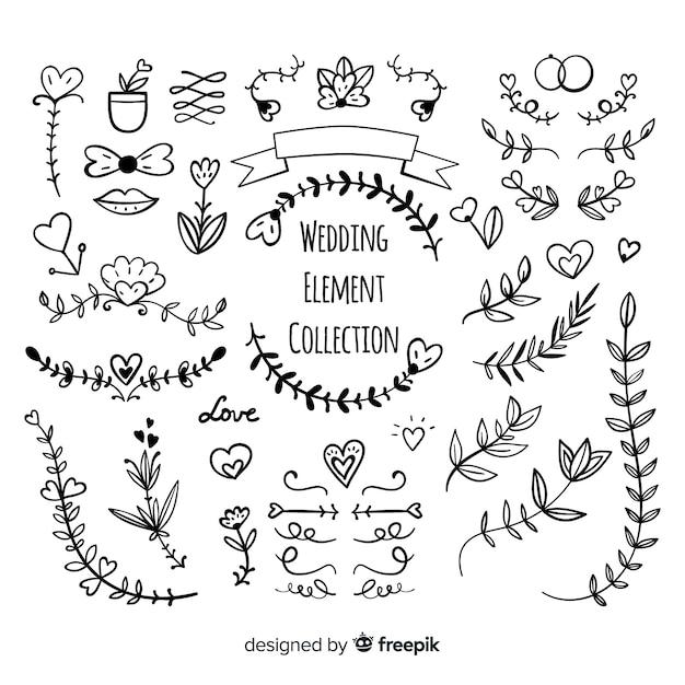 Hand drawn wedding ornament collectio Free Vector