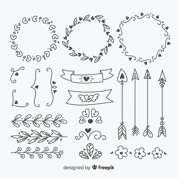 Hand drawn wedding ornament collection isolated Free Vector