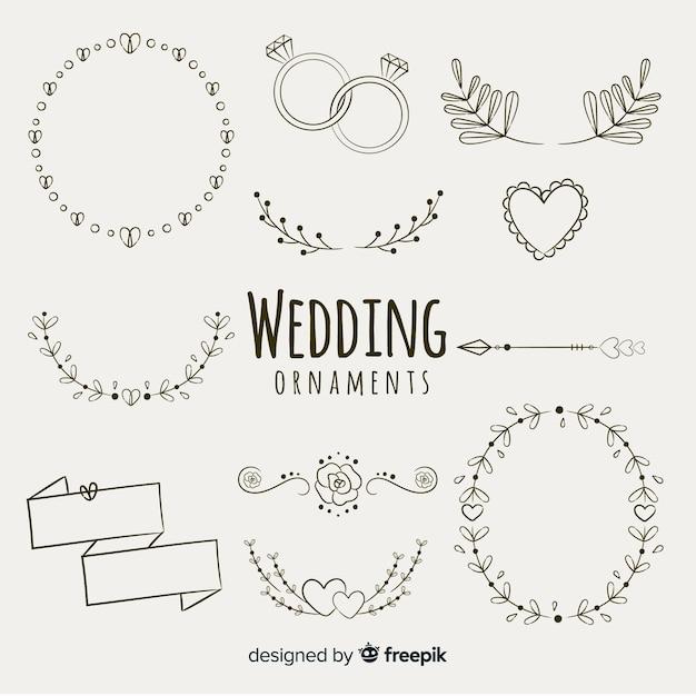 Koleksi ornament pernikahan digambar tangan Vektor Gratis