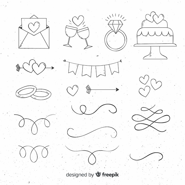Hand drawn wedding ornament collection Premium Vector