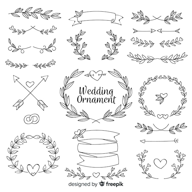 Koleksi ornamen pernikahan digambar tangan Vektor Gratis