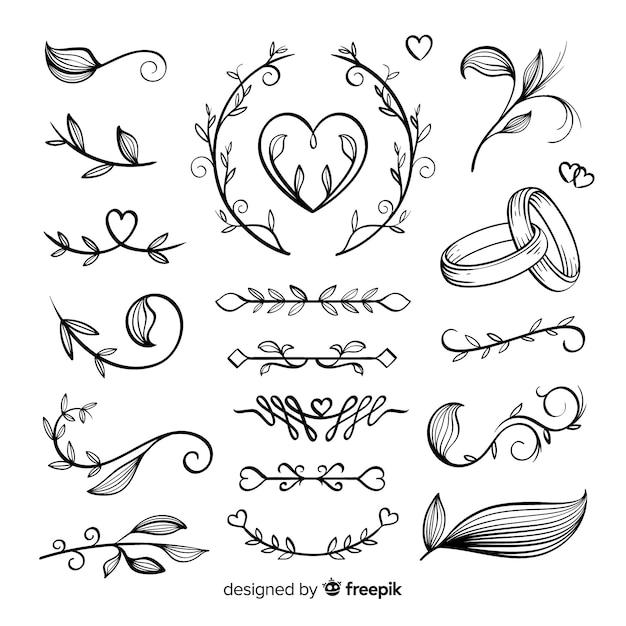 Koleksi ornamen pernikahan yang digambar tangan Vektor Gratis