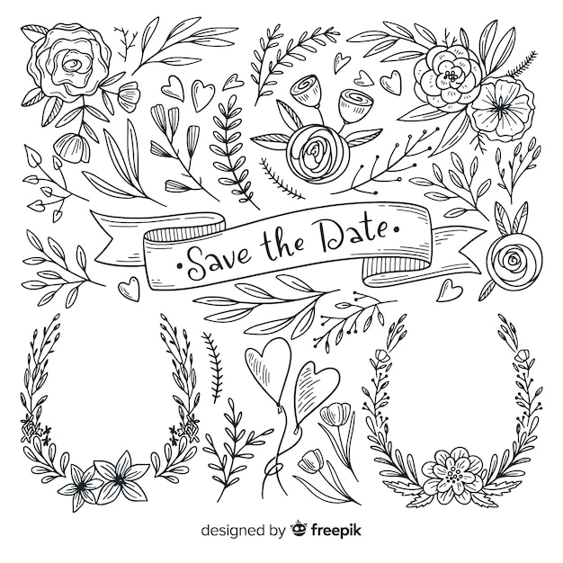 Hand drawn wedding ornament collection Free Vector