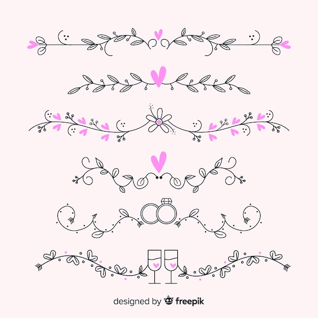 Hand drawn wedding ornaments collection Free Vector