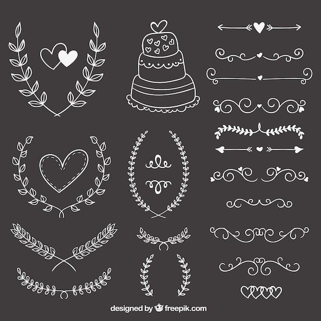 Hand drawn wedding ornaments on blackboard vector free for Wedding ornaments