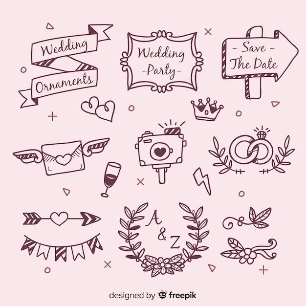Hand drawn wedding ornaments set Free Vector