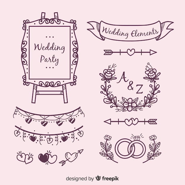 Hand drawn wedding ornaments set Free Vector