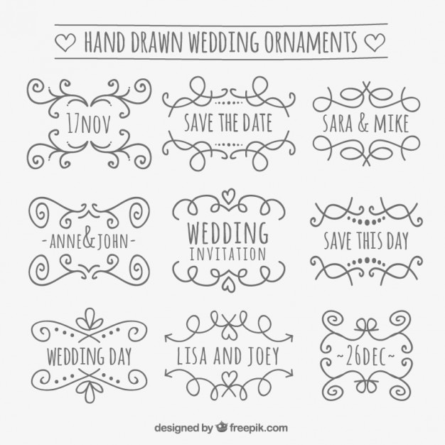 Hand drawn wedding ornaments vector free download hand drawn wedding ornaments free vector junglespirit Images