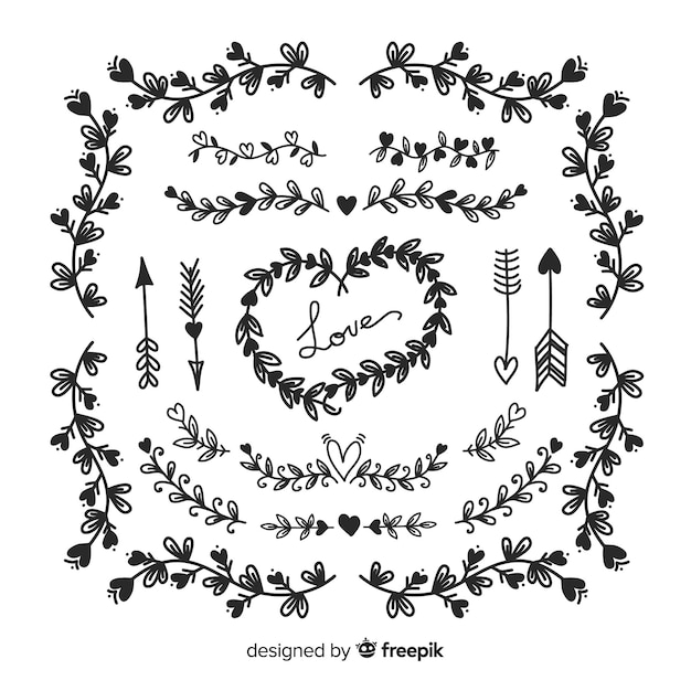 Hand drawn wedding squared ornament collection Free Vector