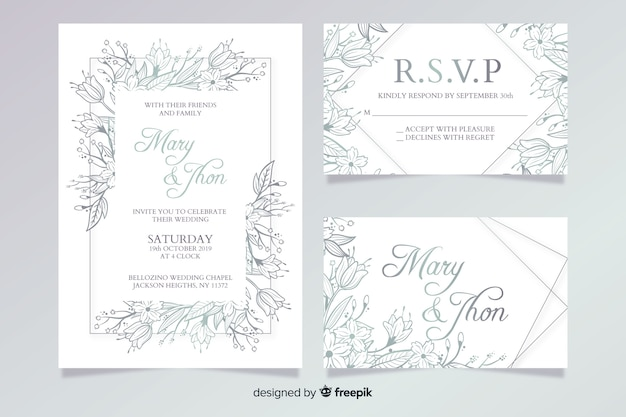 Hand drawn wedding stationery template collection Free Vector