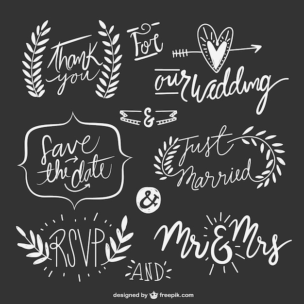 Hand drawn wedding texts with ornaments Free Vector