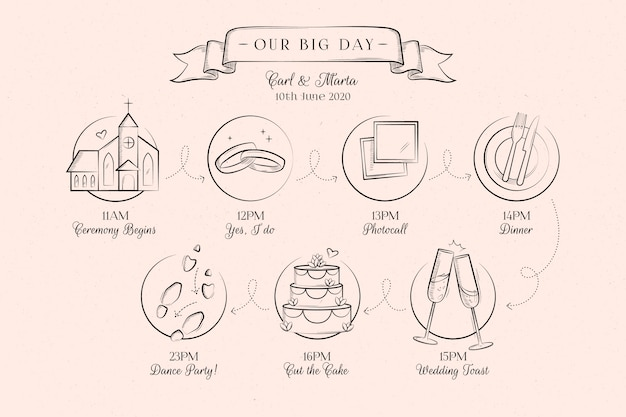 Hand drawn wedding timeline on pink background Free Vector