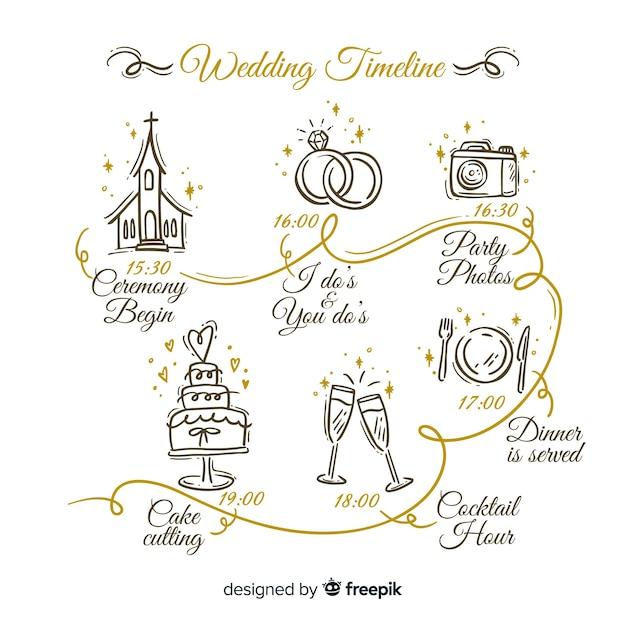 Free Vector Hand Drawn Wedding Timeline