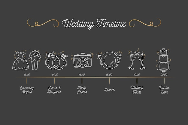 Hand drawn wedding timeline Free Vector