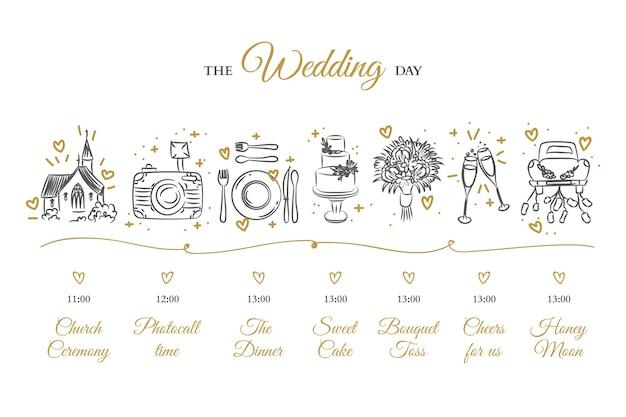 Hand drawn wedding timeline Free Vector