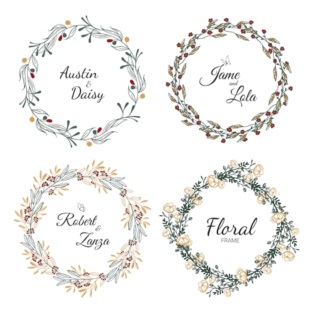 Hand drawn wedding wreath collection for wedding. Premium Vector