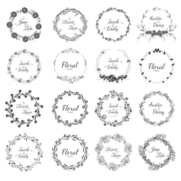 Hand drawn wedding wreath collection for wedding. Premium Vector