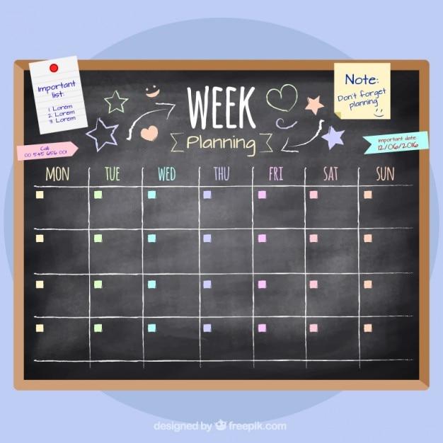 دست کشیده برنامه ریزی هفته در تخته سیاه