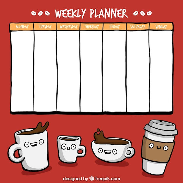 hand drawn weekly planner with coffee cups drawings vector Funny Mark Your Calendar Mark Your Calendar Templates