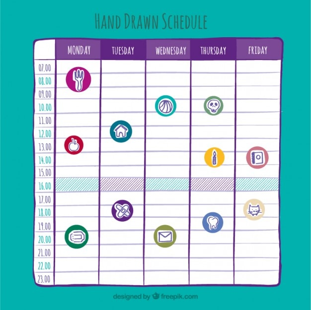 Hand drawn weekly planner with drawings Free Vector