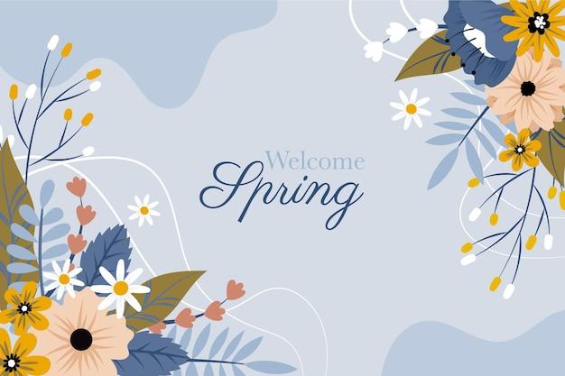 Sfondo di fiori primaverili di benvenuto disegnato a mano Vettore gratuito