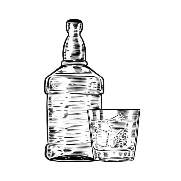 Нарисованная рукой бутылка вискиа с выпивая стеклом. элемент для плаката, меню. иллюстрация Premium векторы