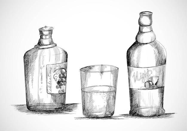 Нарисованная рукой бутылка виски с эскизным дизайном стакана Бесплатные векторы