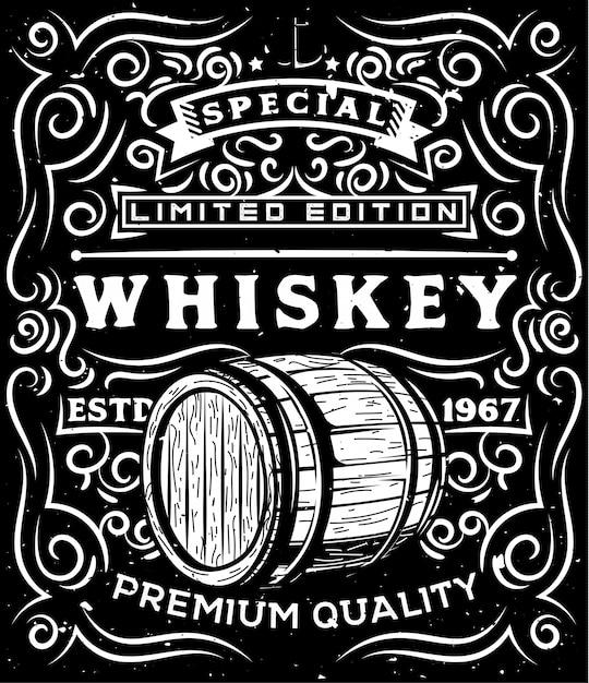 Ручной обращается виски деревянная бочка и цветочные каллиграфические элементы Premium векторы