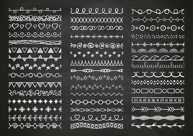 Hand drawn white decorative big brushes set on chalkboard background. Premium Vector