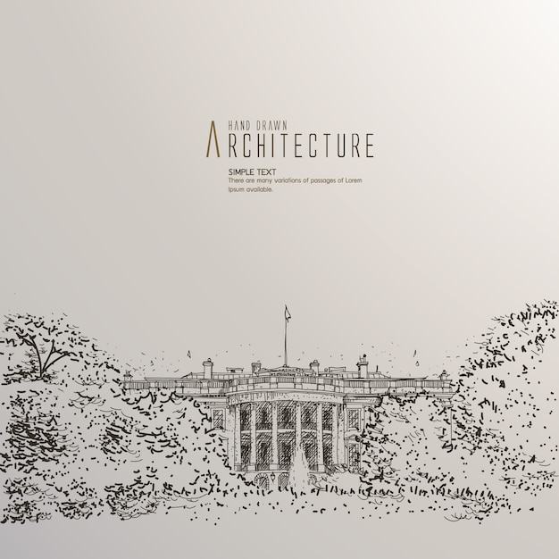 Hand drawn white house Free Vector